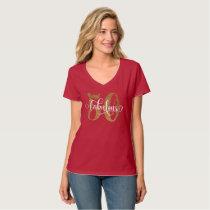 50 & Fabulous Gold Glitter Typography 4 Birthday T-Shirt