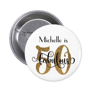 50 & Fabulous Gold Glitter Typography Birthday Button