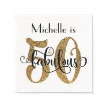 50 & Fabulous Gold Glitter Typography Birthday Paper Napkin