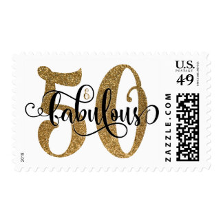 50 & Fabulous Gold Glitter Typography Birthday Postage