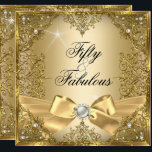 """50 Fabulous Gold Pearl Bow 50th Birthday Invitation<br><div class=""""desc"""">Fabulous 50, Photo, Gold & silver pearl bow with gold damask. Elegant Modern and Stylish 50th Birthday Party Invitations. All Occasion Invite invitation. All Occasions birthday invites. Customise with your own details and age. Template for Sweet 16, 16th, Quinceanera 15th, 18th, 20th, 21st, 30th, 40th, 50th, 60th, 70th, 80th, 90,...</div>"""