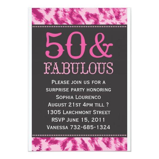 50 & Fabulous Leopard Invitation