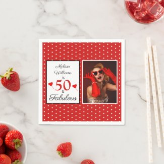 50 & Fabulous Name Photo Red 50th Birthday Red WH Napkins