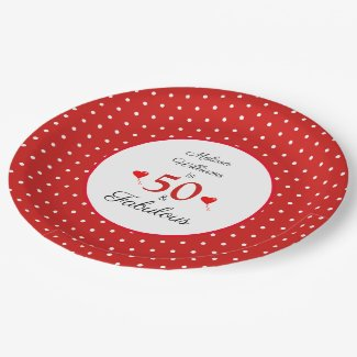 50 & Fabulous Name Photo Red 50th Birthday Red WH Paper Plate