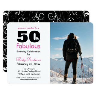 """""""50 & Fabulous"""" Party Invitation with Color Photo"""