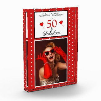 50 & Fabulous Personal 50th Birthday White Red Dot Photo Block