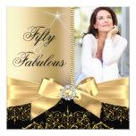 50 & Fabulous Photo Gold Black Bow 50th Birthday Card