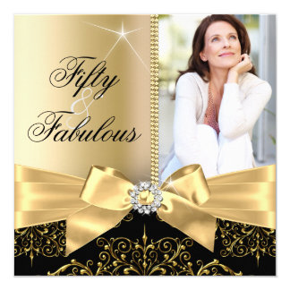 50 & Fabulous Photo Gold Black Bow 50th Birthday Card