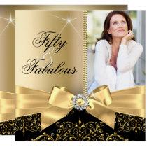 50 & Fabulous Photo Gold Black Bow 50th Birthday Invitation