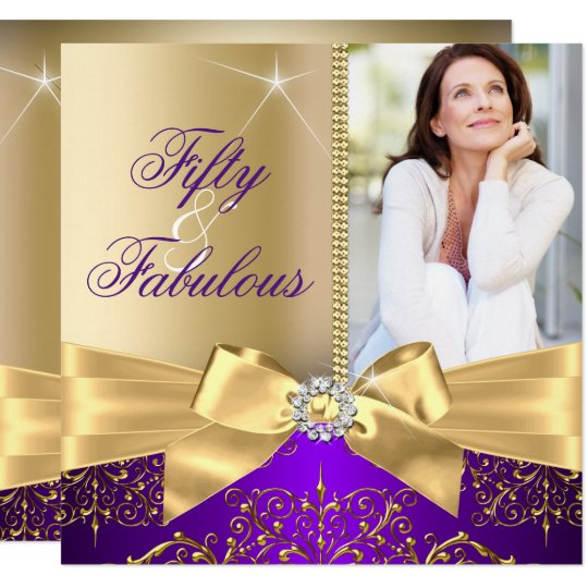 50 Fabulous Photo Gold Purple Bow 50th Birthday Invitation