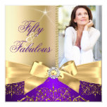 50 & Fabulous Photo Gold Purple Bow 50th Birthday Invitation