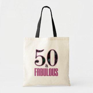 50 & Fabulous Pink Black Typography 50th Birthday Tote Bag