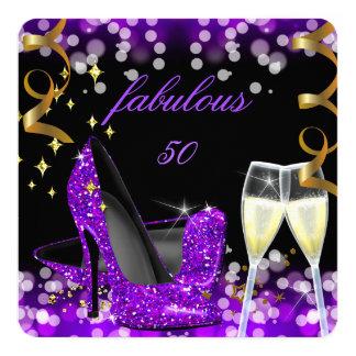 50 Fabulous Purple Glitter High Heel 50th Birthday Card