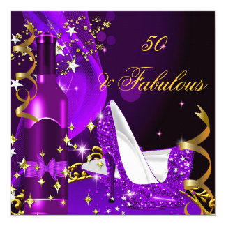 50 & Fabulous Purple Magenta Birthday Party Card