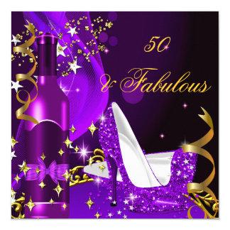 50 & Fabulous Purple Magenta Birthday Party 5.25x5.25 Square Paper Invitation Card