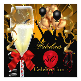50 & Fabulous Red Gold Black Birthday Party 5.25x5.25 Square Paper Invitation Card