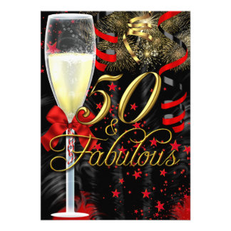 50 & Fabulous Red Gold Black Birthday Party Invite