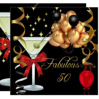 50 Fabulous Red Gold Black Martini Birthday Party Card
