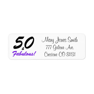 50 & Fabulous set in black and purple typography Label