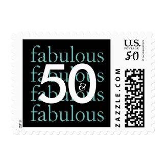 50 & Fabulous Teal Typography 50th Birthday Theme Postage