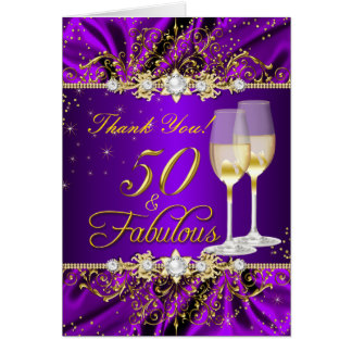 50 Fabulous Thank You Card Pearl Purple Gold Swirl