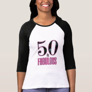 50 Fabulous Typography Black Pink 50th Birthday T Shirt