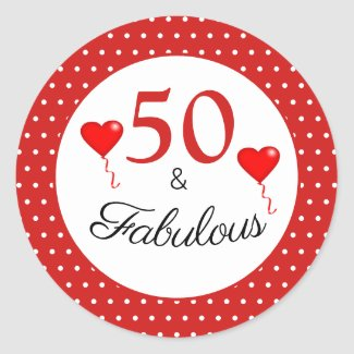 50 & Fabulous Typography Red 50th Birthday Red WH Classic Round Sticker