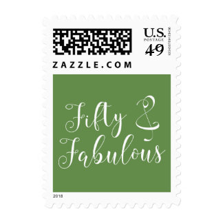 50 & Fabulous White Typography on Moss Green Postage