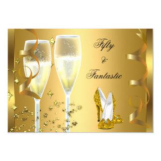"50 & Fantastic Elegant Champagne Heels Gold 5"" X 7"" Invitation Card"