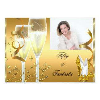 50 & Fantastic Elegant Champagne Shoes Gold Photo Card
