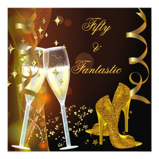 50 & Fantastic Fabulous Gold Champagne Shoes Invitations from Zazzle