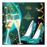 50 & Fantastic Fabulous Gold Teal Glitter Shoes Invites