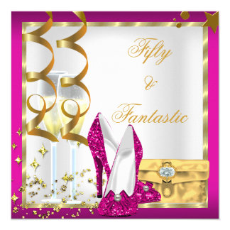 50 & Fantastic Hot Pink White Gold Birthday Party 5.25x5.25 Square Paper Invitation Card