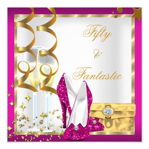 50 & Fantastic Hot Pink White Gold Birthday Party Invitation