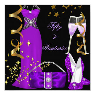 50 & Fantastic Purple Dress Black Gold Birthday Card