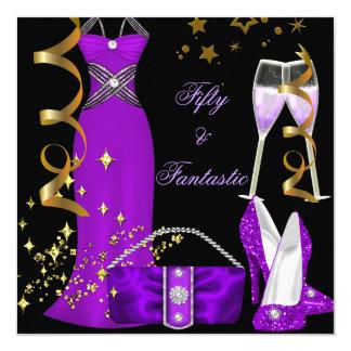 50 & Fantastic Purple Dress Black Gold Birthday Card