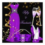 "50 & Fantastic Purple Dress Black Gold Birthday 5.25"" Square Invitation Card"