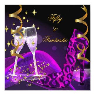 50 & Fantastic Purple Gold Leopard Shoes Card