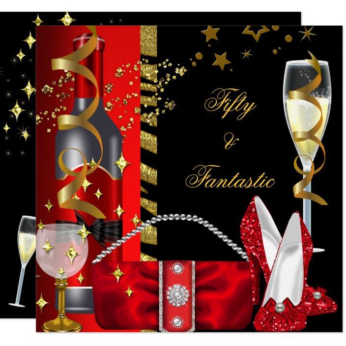 50 Fantastic Red Black Gold Birthday Party Invitation Zazzle