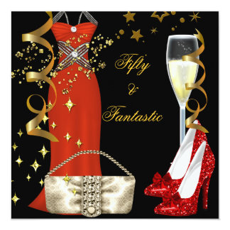 """50 & Fantastic Red Dress Black Gold Birthday Party 5.25"""" Square Invitation Card"""