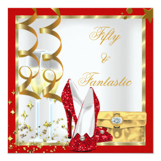 50 & Fantastic Red White Gold Birthday Party 5.25x5.25 Square Paper Invitation Card