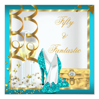 50 & Fantastic Teal White Gold Birthday Party 5.25x5.25 Square Paper Invitation Card
