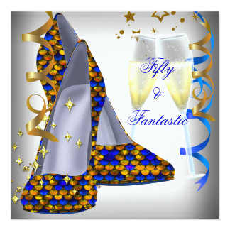 50 & Fantastic White Shoes Blue Sequins Birthday 5.25x5.25 Square Paper Invitation Card