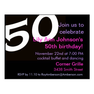 50 Fiftieth Birthday Party Post Card Invitation