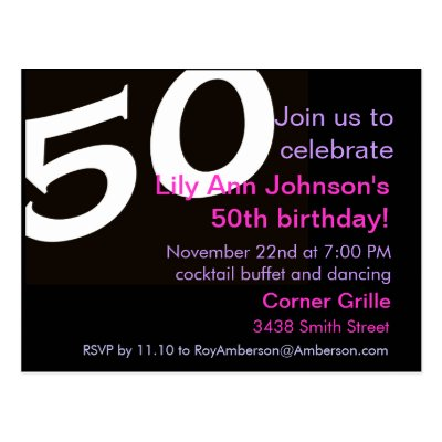 50th Birthday Surprise Party Sample Invitations – 50 Year Old Birthday Card