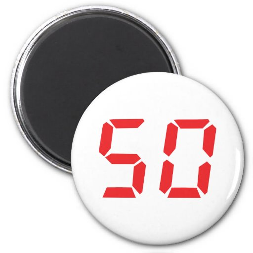 50 fifty red alarm clock digital number 2 inch round magnet