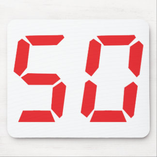 50 fifty red alarm clock digital number mouse pad