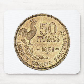 50 FRANCS 1951 GOLD COIN MOUSE PAD