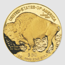 $50 Gold Coin American Buffalo (pack of 6/20) Classic Round Sticker