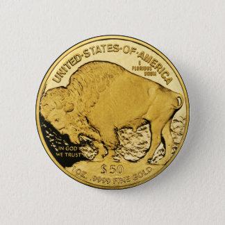 $50 Gold Coin American Buffalo Pinback Button
